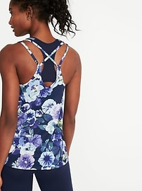 Strappy Floral-Print Performance Tank for Women