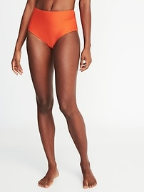 Textured-Stripe High-Waist Bikini Bottoms for Women