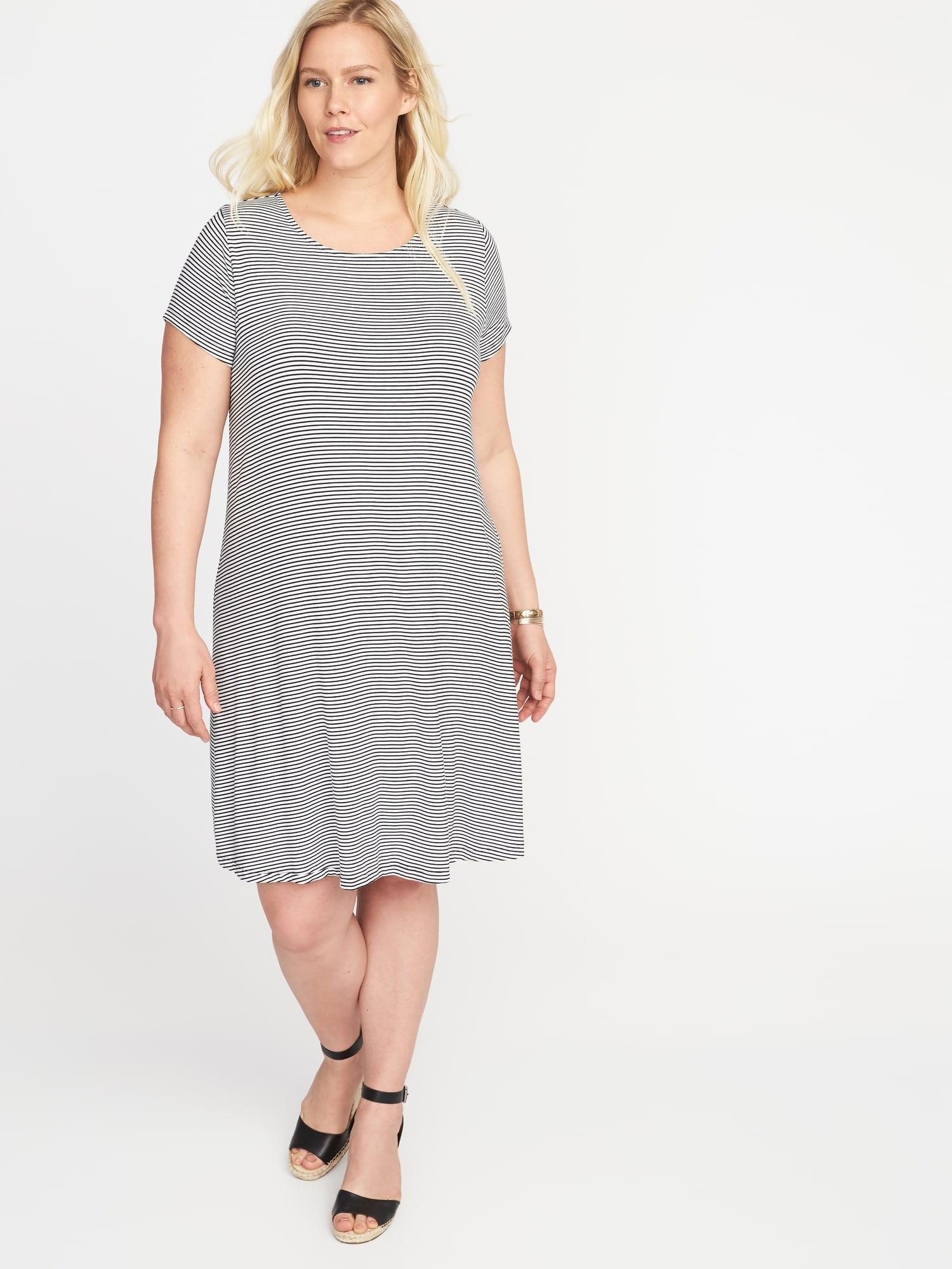 d06303c9eb Short-Sleeve Plus-Size Jersey-Knit Swing Dress