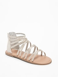 Sueded Metallic Gladiator Sandals for Girls