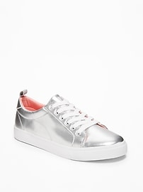 Silver-Metallic Sneakers for Girls