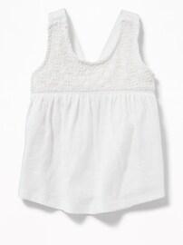 Crochet-Lace Yoke Tank for Toddler Girls
