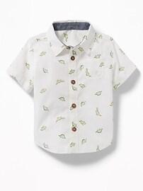 Dinosaur-Print Poplin Shirt for Baby