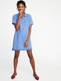 Released-Hem Denim Shirt Dress for Women