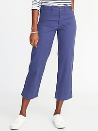 Mid-Rise Cropped Wide-Leg Chinos for Women