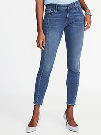 Mid-Rise Rockstar Raw-Edge Ankle Jeans for Women