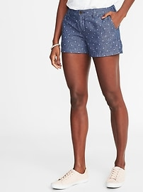 """Relaxed Mid-Rise Linen-Blend Everyday Shorts for Women (3 1/2"""")"""