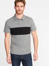 Polo en tricot grège à couleurs contrastantes pour homme