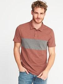 Color-Block Slub-Knit Polo for Men