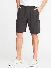 Linen-Blend Cargo Shorts for Men