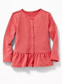 Peplum-Hem Metallic-Stripe Top for Toddler Girls