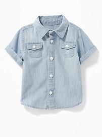 Chemise en cambrai à manchettes roulées pour bébé