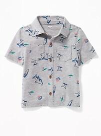 Chemise en tricot de jersey boutonnée à l'avant avec poche pour tout-petit garçon