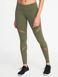 Mid-Rise Mesh-Panel Compression Leggings for Women