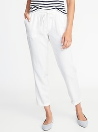 Mid-Rise Linen-Blend Cropped Pants for Women