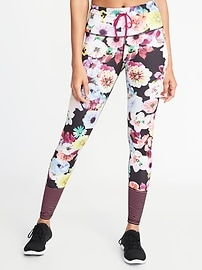 High-Rise Floral-Print Striped-Calf Compression Leggings for Women