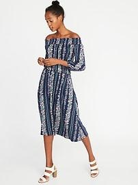 Smocked Off-the-Shoulder Waist-Defined Dress for Women