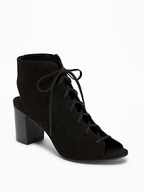 Sueded Lace-Up Booties for Women