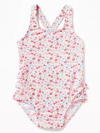 Floral-Print Ruffle-Back Swimsuit for Toddler Girls