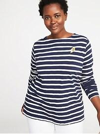 T-shirt à imprimé à rayures de marin, taille Plus
