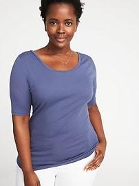 T-shirt ajusté à col ballerine, taille Plus