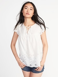 Relaxed Lace-Yoke Cutwork Blouse for Women