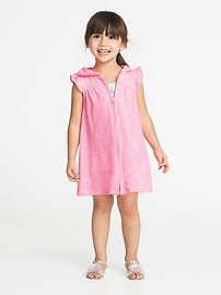 Hooded Loop-Terry Zip-Front Cover-Up for Toddler Girls