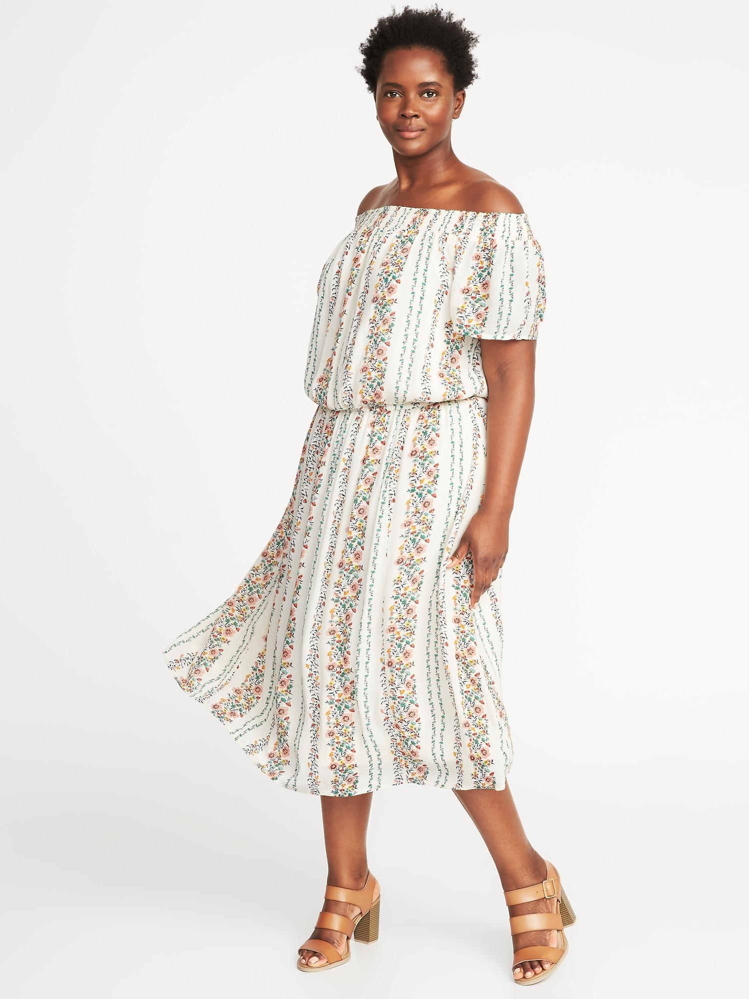 fbb8b76641eb Off-the-Shoulder Plus-Size Midi Dress