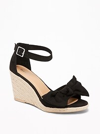 Sueded Bow-Tie Espadrille Wedges for Women