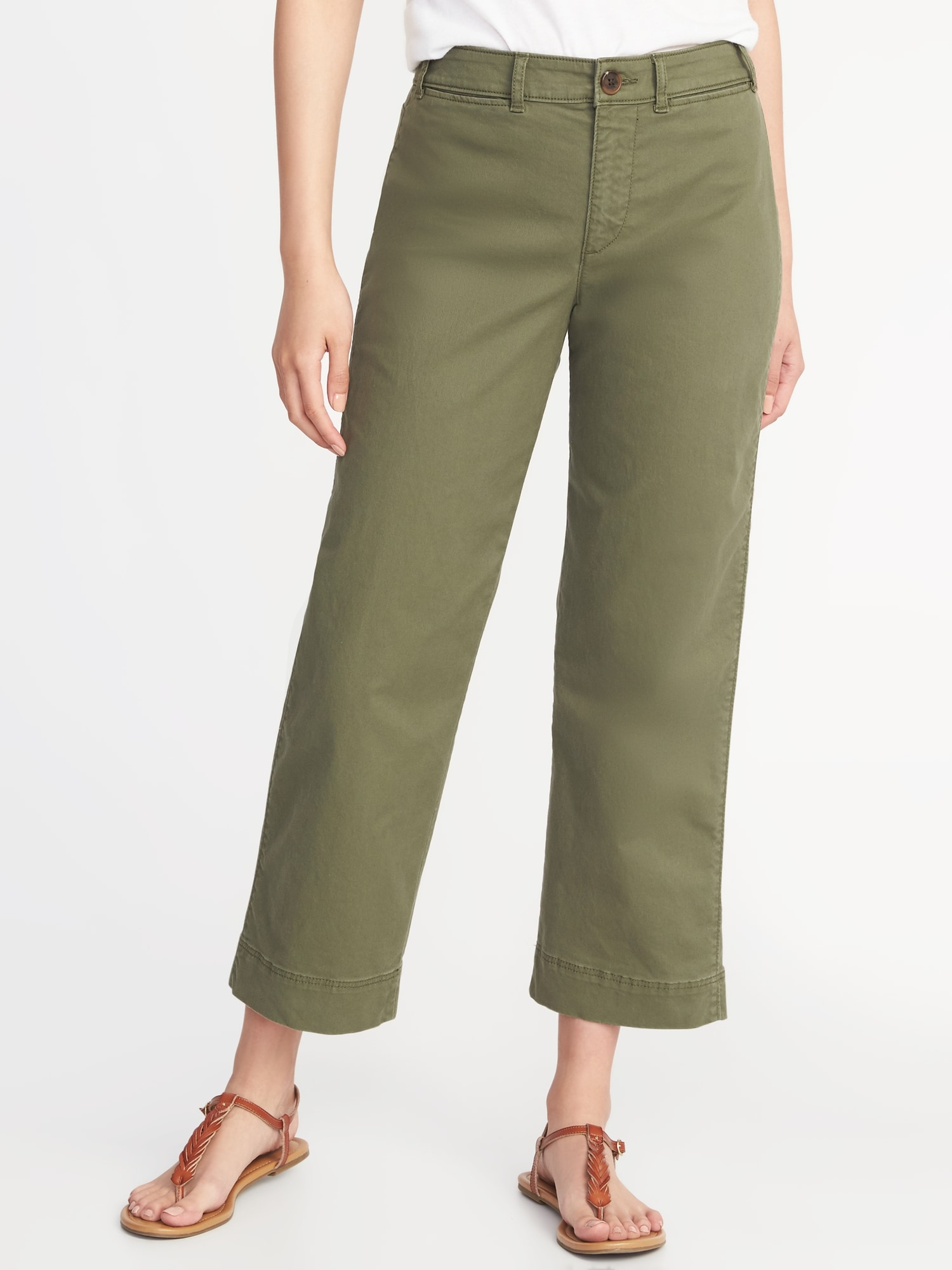 3ab60979ce91 Mid-Rise Cropped Wide-Leg Chinos for Women