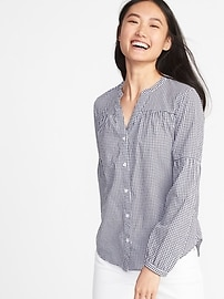 Relaxed Smocked Button-Front Shirt for Women
