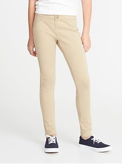 Ponte-Knit Uniform Jeggings for Girls