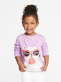 """Feline Good"" Graphic Fleece Sweatshirt for Toddler Girls"