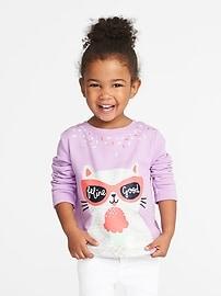 Chandail sport en molleton imprimé «Feline Good» pour toute-petite fille