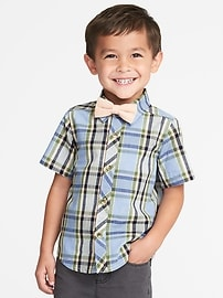 Plaid Shirt & Bow-Tie Set for Toddler Boys