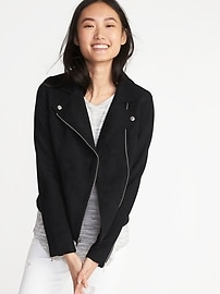 Sueded-Knit Moto Jacket for Women