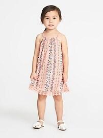 Robe à fleurs avec ourlet en dentelle pour toute-petite fille