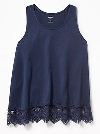 Lace-Hem Racerback Tank for Girls
