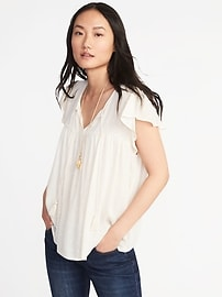 Flutter-Sleeve Swing Top for Women