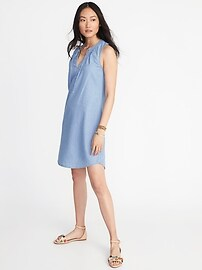 Sleeveless V-Neck Shift Dress for Women