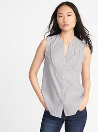 Sleeveless Ruffle-Trim Metallic-Stripe Blouse for Women