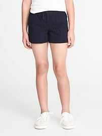 Pull-On Cutwork Shorts for Girls