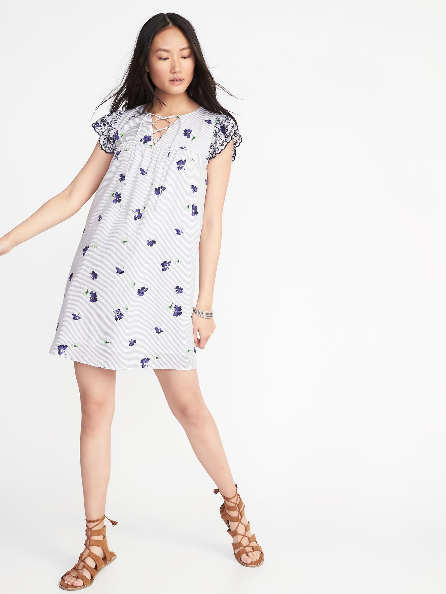 78ae189b364 Lace-Yoke Cutwork-Sleeve Swing Dress for Women