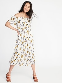 Off-the-Shoulder Waist-Defined Midi Dress for Women