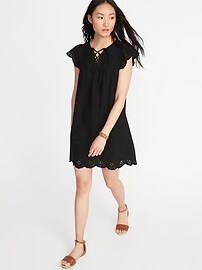Lace-Up-Yoke Cutwork Swing Dress for Women