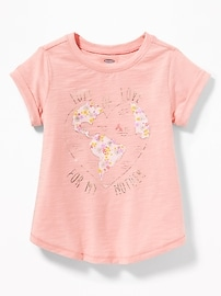 Graphic Slub-Knit A-Line Top for Toddler Girls