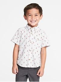 Printed Slub-Weave Shirt for Toddler Boys