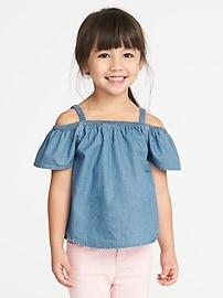 Off-the-Shoulder Chambray Top for Toddler Girls