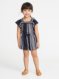 Striped Dobby Flutter-Sleeve Romper for Toddler Girls