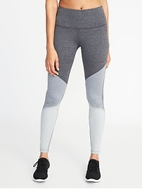High-Rise Color-Block Compression Leggings for Women